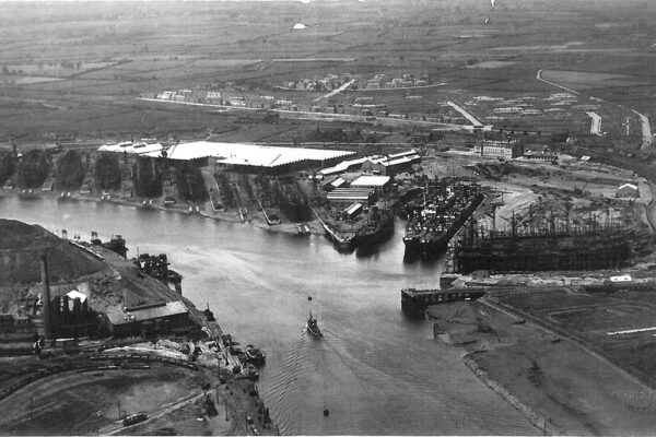 Black and white photograph of the shipyard