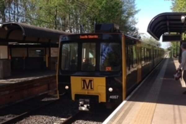 Metro train at a train platform
